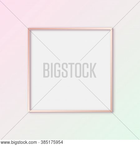 Vector Pink Gold Gallery Frame, Mock Up Pastel Frame Template With Blank Cover, Square Frame On Pink