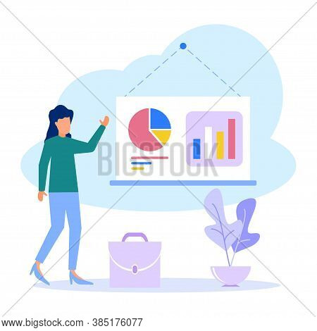 The Woman Entrepreneur Stands By The Flip Chart And Points To The Charts And Diagrams. Creative Busi
