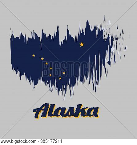 Brush Style Color Flag Of Alaska, Eight Gold Stars, In The Shape Of