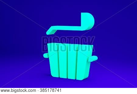 Green Sauna Bucket And Ladle Icon Isolated On Blue Background. Minimalism Concept. 3d Illustration 3
