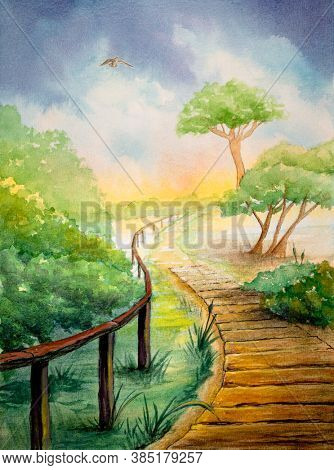 Watercolor landscape with a footpath crossing some mediterranean vegetation near the beach. Original illustration on paper.