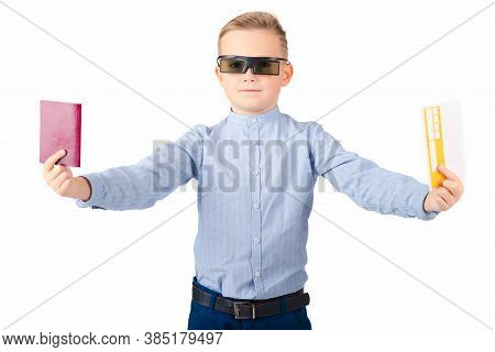 Excited Young Caucasian Schoolboy In 3d Imax Glasses Posing Isolated On White Background In Studio.