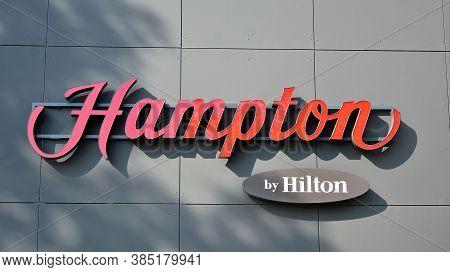 Warsaw, Poland. 13 September 2020. Sign Hampton By Hilton. Company Signboard Hampton By Hilton.