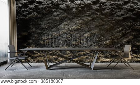 Black Slate Wall With Large Table And Chairs. 3d Render Mock Up Illustration.