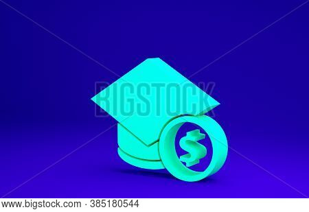 Green Graduation Cap And Coin Icon Isolated On Blue Background. Education And Money. Concept Of Scho