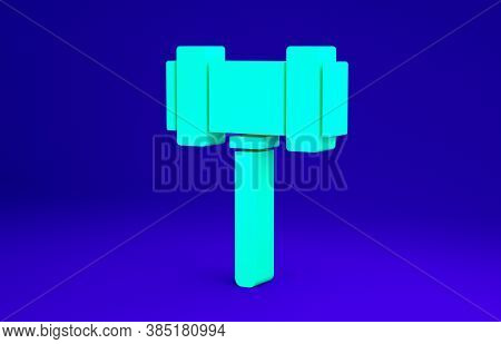 Green Judge Gavel Icon Isolated On Blue Background. Gavel For Adjudication Of Sentences And Bills, C