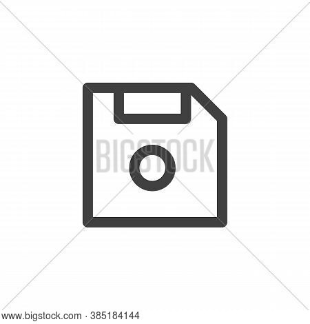 Data Storage Line Icon. Linear Style Sign For Mobile Concept And Web Design. Floppy Disk Outline Vec