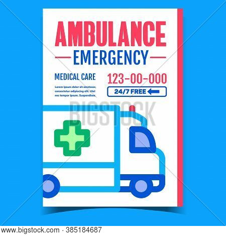 Ambulance Emergency Advertising Banner Vector. Hospital Transportation Ambulance Car Truck With Cros
