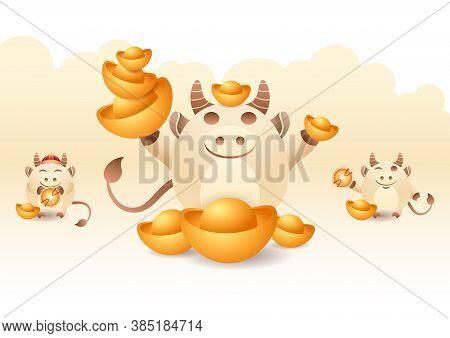 Happy Chinese New Year Greeting Card 2021 Ox Zodiac. Cute Mascot, Symbol Year. Cartoon Of Little Ox