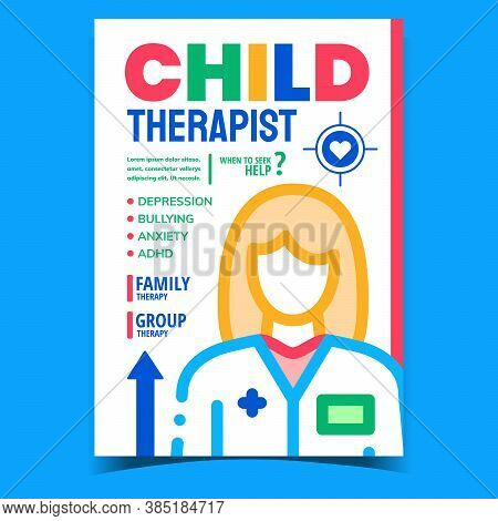 Child Therapist Creative Advertising Banner Vector. Depression And Bullying, Anxiety And Adhd Therap