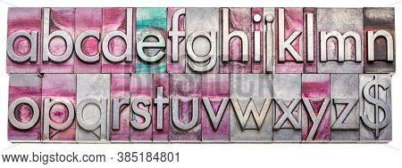 lowercase English alphabet and dollar symbol  in vintage, gritty metal letterpress type blocks stained by printing inks, isolated on white, web banner