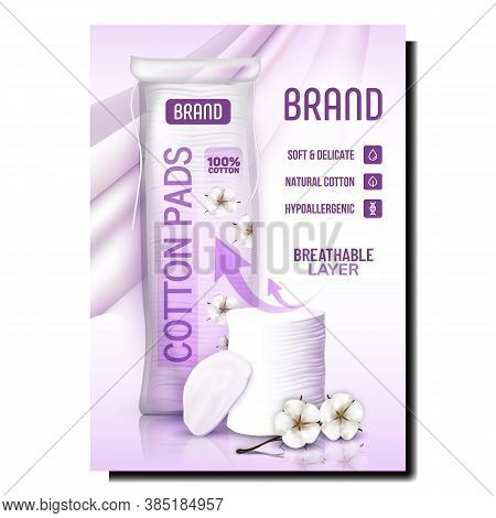 Cotton Pads Breathable Layer Promo Poster Vector. Soft And Delicate, Hypoallergenic Natural Cotton D