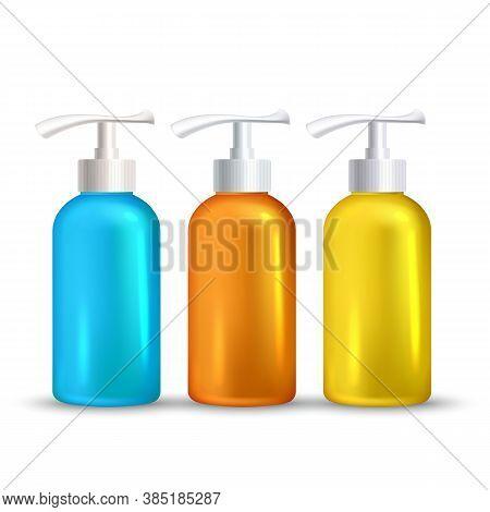 Sunblock Foamy Skincare Liquid Bottles Set Vector. Hygienic Sunblock Foam Gel Transparent Multicolor