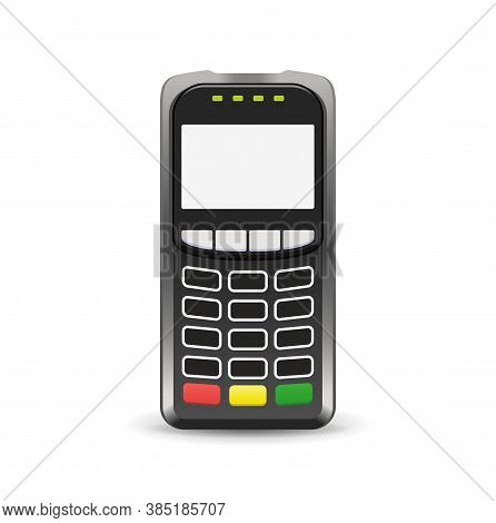 Pos Terminal Top Front View Mock-up - Cash And Credit Payment Device With Screen And Keyboard - Isol