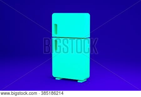 Green Refrigerator Icon Isolated On Blue Background. Fridge Freezer Refrigerator. Household Tech And