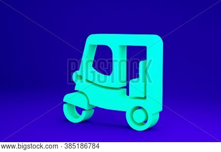 Green Taxi Tuk Tuk Icon Isolated On Blue Background. Indian Auto Rickshaw Concept. Delhi Auto. Minim