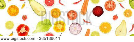 Panoramic seamless pattern of juicy vegetables and fruits useful for health isolated on white background.