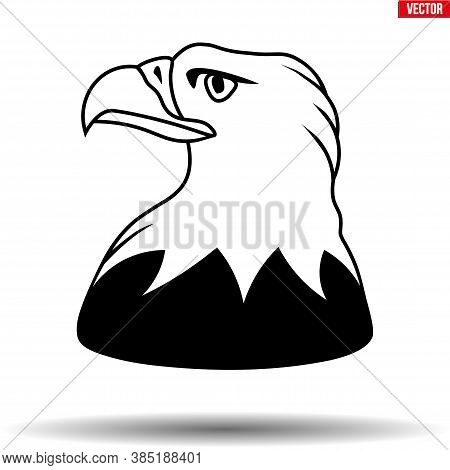 Head Of American Eagle. Symbol Of Usa Great Seal Bird. Vector Illustration Isolated On White Backgro