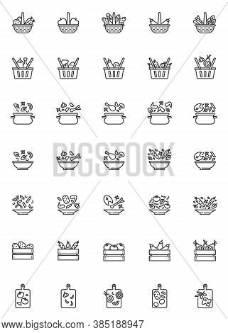 Cooking Recipes Line Icons Set. Food Preparation Linear Style Symbols Collection, Outline Signs Pack