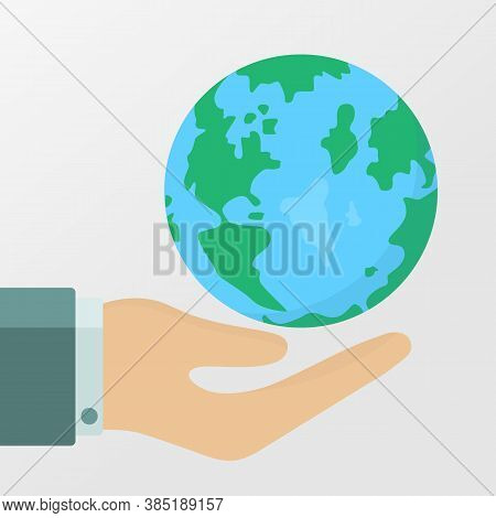 Planet In Human Hands. Hand Palm And Planet Earth. Ecology, Environment Issues, Pollution Concepts.