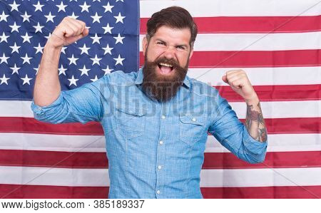 Man Well Groomed Hipster Stylish Appearance American Flag Background, Successful Person Concept.