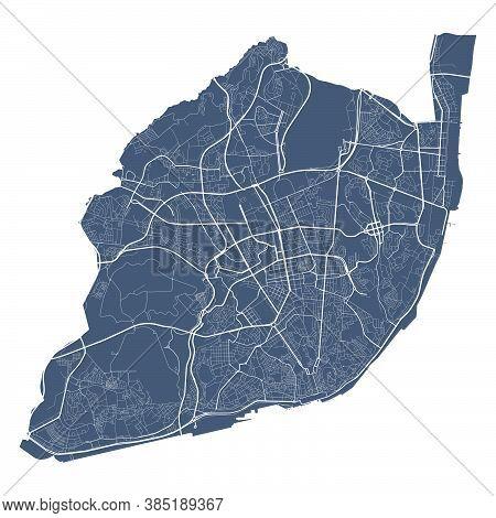 Lisboa Map. Detailed Vector Map Of Lisboa City Administrative Area. Cityscape Poster Metropolitan Ar