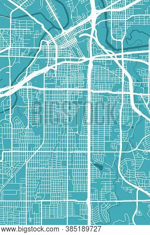 Detailed Map Of Fort Worth City Administrative Area. Royalty Free Vector Illustration. Cityscape Pan