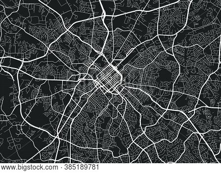 Urban City Map Of Charlotte. Vector Illustration, Charlotte Map Art Poster. Street Map Image With Ro