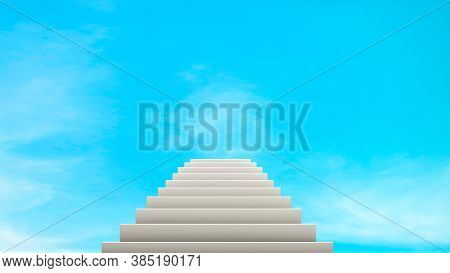 3d Rendering, Abstract White Stairway Go Up To Blue Sky, Way To Heaven Or Paradise, Realistic Mock U