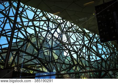 Melbourne, Australia - Dec 26, 2019: View From Inside Of The Glazed Wall Of The Atrium In The Federa
