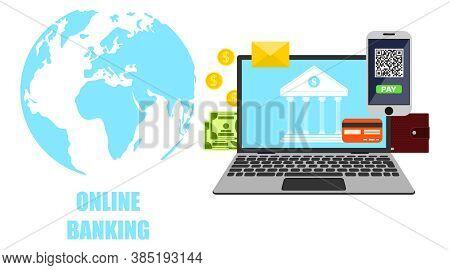 Online Banking. Online Banking Icon. Vector, Cartoon Illustration.