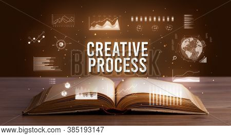 CREATIVE PROCESS inscription coming out from an open book, creative business concept
