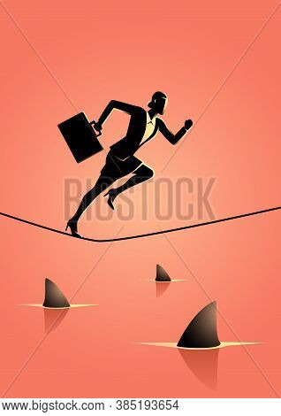 Business Concept Vector Illustration Of A Businesswoman Running On Rope With Sharks Underneath. Conc