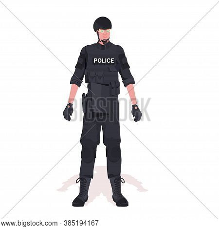Policeman In Full Tactical Gear Riot Police Officer And Protesters And Demonstration Riots Mass Cont