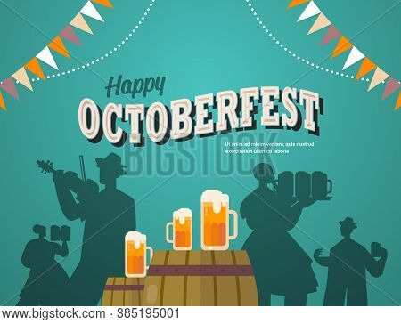 People Silhouettes Celebrating Beer Festival Oktoberfest Party Celebration Concept Lettering Greetin