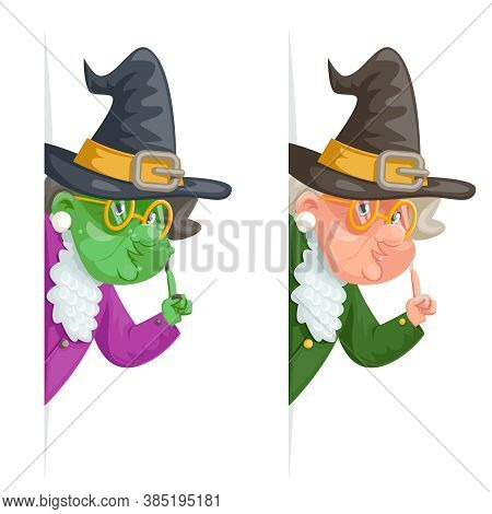 Witch Wise Advice Look Out Corner Grandmother Talking Old Woman Granny Character Cartoon Design Vect
