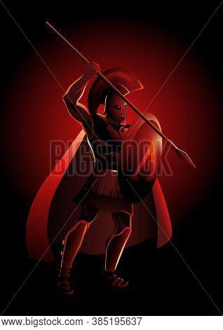 Vector Illustration Of An Ancient Greek Warrior, Spartan Hoplite