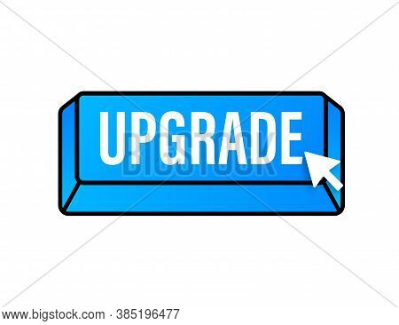 Upgrade Blue Square Button. Vector Stock Illustration.
