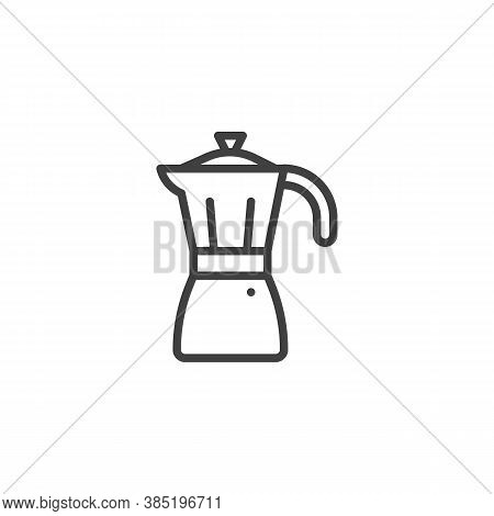 Mocha Pot Line Icon. Linear Style Sign For Mobile Concept And Web Design. Coffee Pot Outline Vector