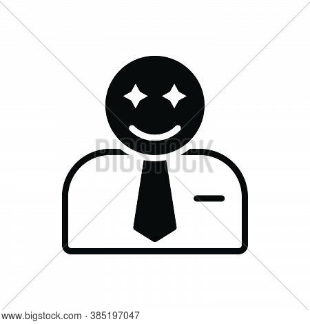 Black Solid Icon For Impress Affect Customer Reaction Happy Smiley Conclusion People