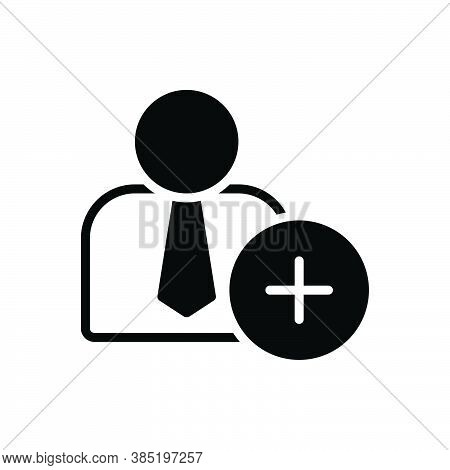 Black Solid Icon For New Recent Nowadays Person Add New