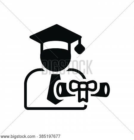 Black Solid Icon For Scholarship Student Money Achievement Bachelor Cap Degree Diploma Gradutaion Ce