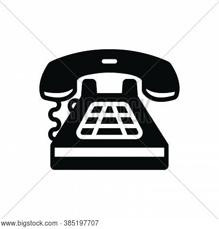 Black Solid Icon For Telephone Call Communication Connection Antique Dial Technology Contact