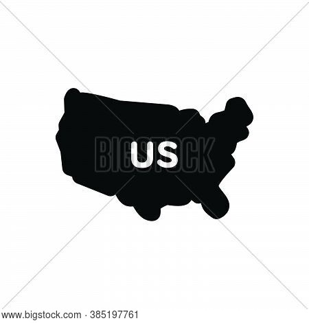 Black Solid Icon For Us Map Country States United Land Boundary