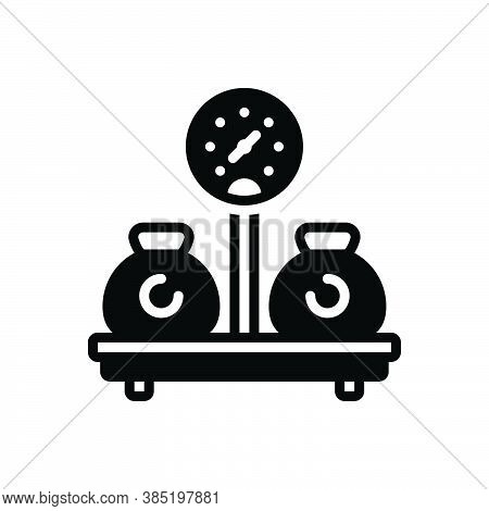 Black Solid Icon For Weight Sinker Encumbrance Stowage Heaviness Mass Load Burden Pressure