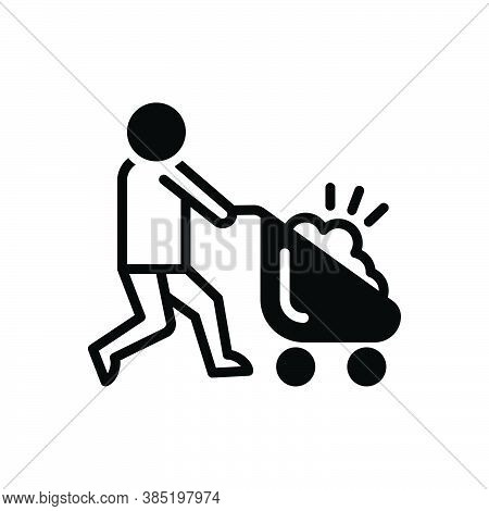 Black Solid Icon For Carry Mover Cargo Deliver Haul Wheel-barrow Agriculture Haul Tote Pushcart Cons