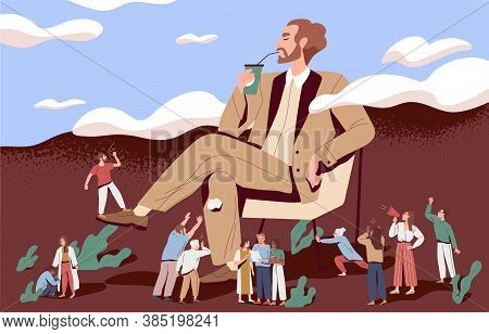 Concept Of Arrogance Or Bossy Manager Who Doesnt Listen To Subordinates Opinion. People Shout Out Fo
