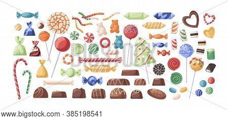 Confectionery, Candy, Chocolate, Lollipop, Caramel, Collection, Ball, Bear, Bonbon, Bright, Cartoon,