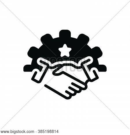 Black Solid Icon For Partnership Fellowship Alliance League Cooperation Association Handshake Busine