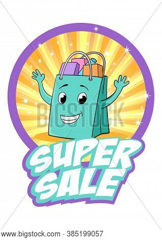 Shopping Bag Cartoon With Text Super Sale On Light Burst